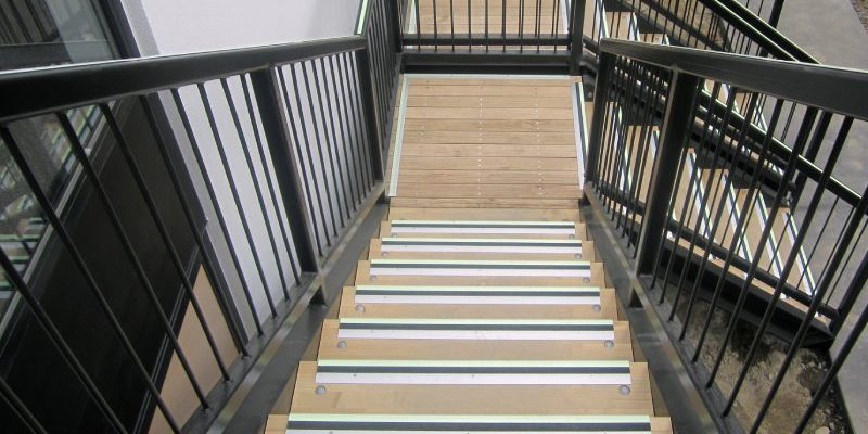 Photoluminescent Nosings installed on Wooden Stairs