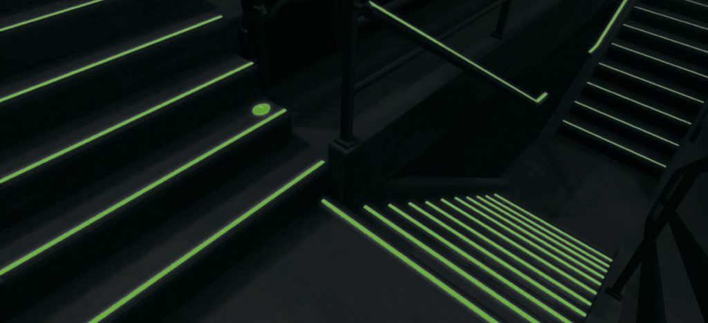 Ecoglo photo luminescent Stairs in dark