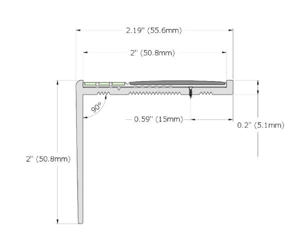 Ecoglo RF7B-E30 Photoluminescent Resilient Flooring Stair Nosing Dimensions