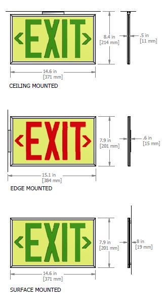 Ecoglo 50-Foot Visibility EX Standard Exit Sign Dimensions