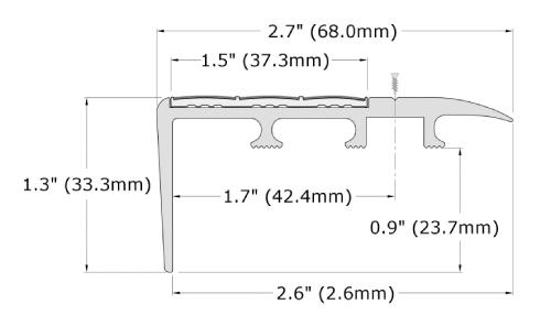 Ecoglo C4-N20 Slip Resistant Carpet Stair Nosing Dimensions