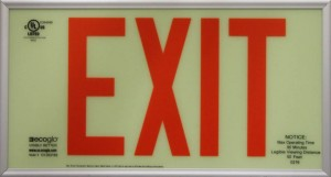 Ecoglo EX-Standard Luminous Emergency Exit Sign - Red Letters