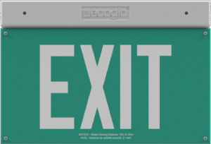 EXH Hybrid LED Luminescent Green Exit Sign
