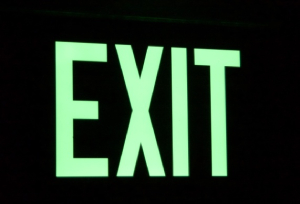 EXH Hybrid LED Luminescent Exit Sign in dark