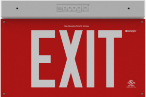 EXH Hybrid LED Luminescent Red Exit Sign