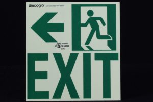 Ecoglo Exit To The Left Photoluminescent Directional Signage