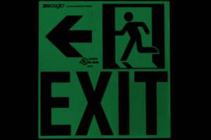 Ecoglo Exit To The Left Photoluminescent Directional Signage in Dark
