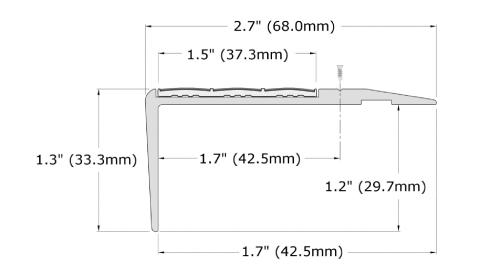 Ecoglo F4-N20 Slip Resistant Stair Nosing Dimensions