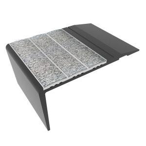 Ecoglo F4260 Slip Resistant Aluminum Black Stair Nosing