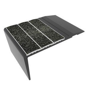 Ecoglo F4270 Slip Resistant Aluminum Black Stair Nosing
