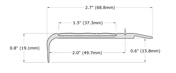 Ecoglo F5B-N20 Slip Resistant Stair Nosing Dimensions