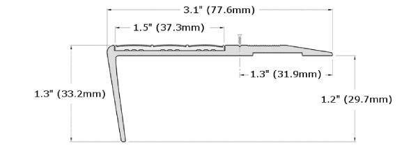 Ecoglo F6-N20 Slip Resistant Stair Nosing Dimensions