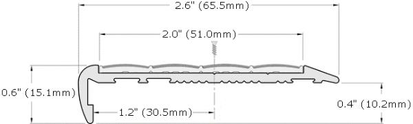 Ecoglo F7-N30 Slip Resistant Stair Nosing Dimensions