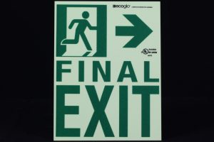 Ecoglo Final Exit To The Right Directional Photoluminescent Signage