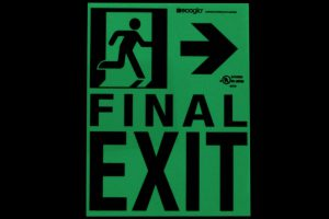 Ecoglo Final Exit To The Right Photoluminescent Directional Signage in Dark