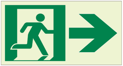 Ecoglo RA02012-G250R Luminous Running Man with Arrow Exit sign