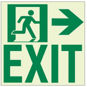 Ecoglo RAE2122 Wall Mounted Luminous Running Man with Arrow Exit sign