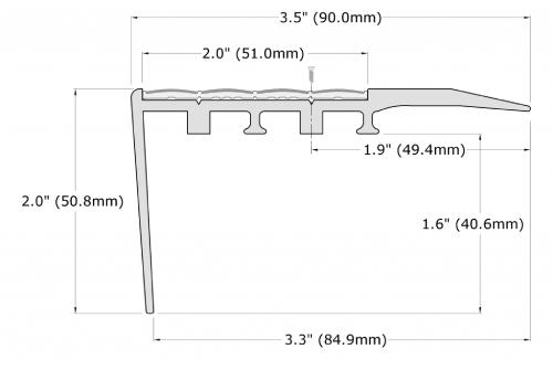 Ecoglo RC4-N30 Slip Resistant Carpet Stair Nosing Dimensions