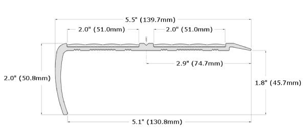 Ecoglo RF5-N30 Slip Resistant Stair Nosing Dimensions