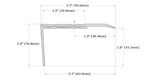 Ecoglo RF7-N30 Slip Resistant Stair Nosing Dimensions