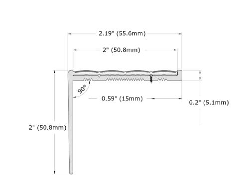 Ecoglo RF7B-N30 Resilient Flooring Stair Nosing Dimensions