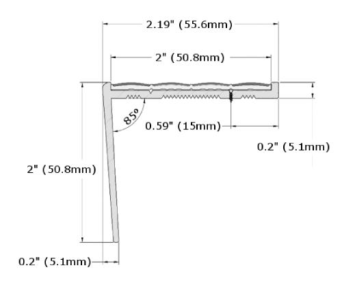 Ecoglo RF7C-N30 Resilient Flooring Stair Nosing Dimensions