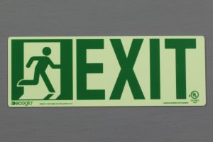 Ecoglo's Luminous Running Man with Directional Exit Sign