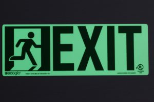 Ecoglo's glow in the dark Running Man with Directional Exit Sign