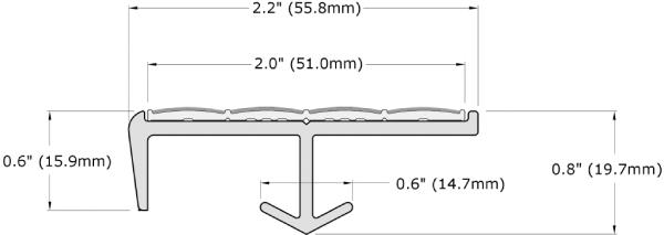 Ecoglo S2-N30 Slip Resistant Stair Nosing Dimensions