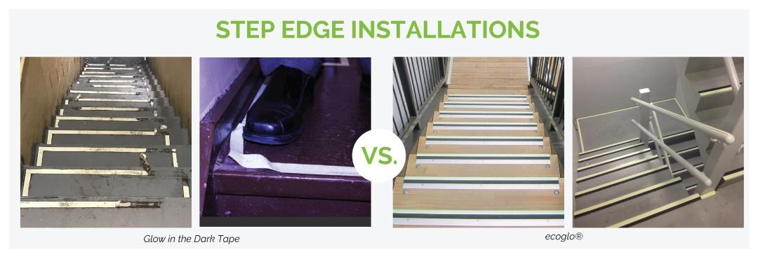Ecoglo Stair Nosing vs Glow in the Dark Tape
