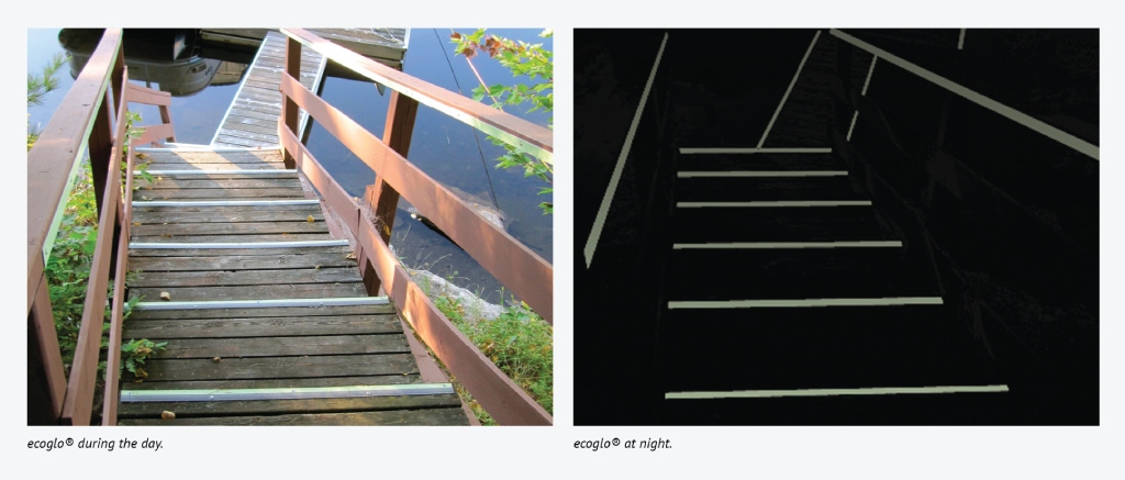 Ecoglo strips on wooden stair during day vs night