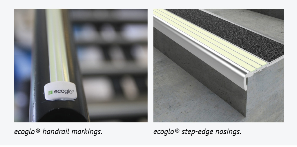 Ecoglo handrail markings & Ecoglo step-edge nosing